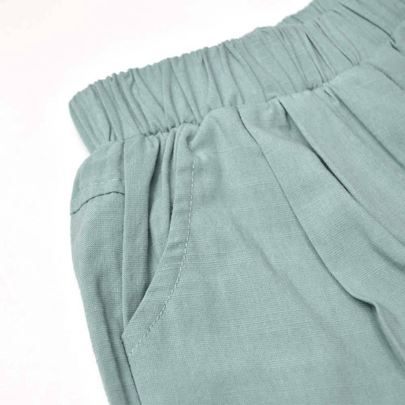 Cotton Linen Bermudas, Teal
