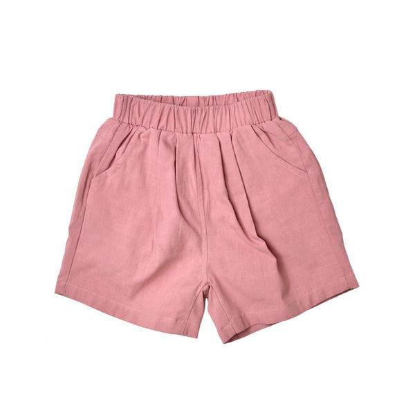 MELON Kids Boy/Girl Cotton Linen Bermudas, Rose Pink
