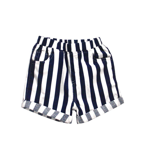 MELON Kids Cotton Shorts, Navy & Daisy stripes