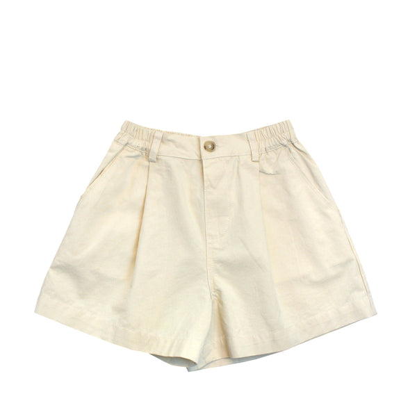 Flare Cotton Shorts, Parmesean