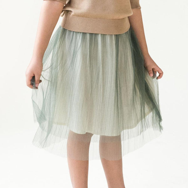 *Size 90 & 100 only* Layered Tulle Midi Skirt, Sage