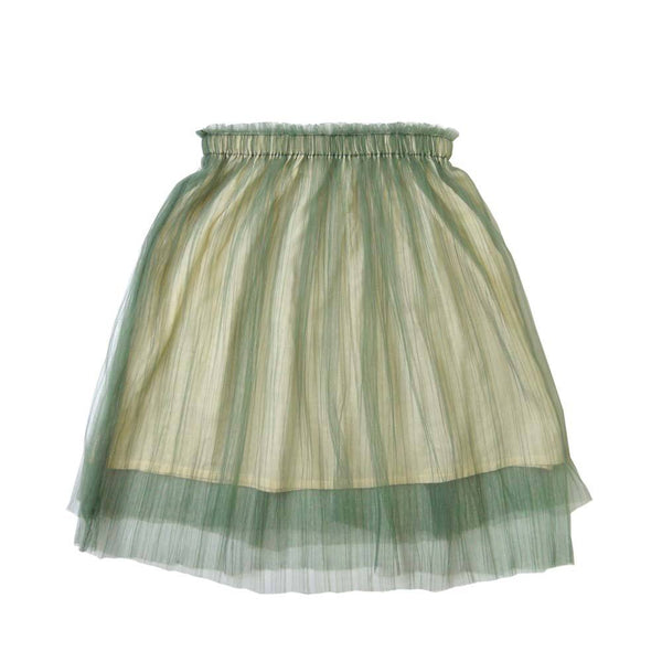 *Size 100 only* Layered Tulle Midi Skirt, Sage