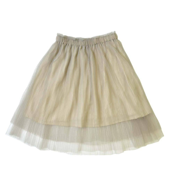 *Size 90 & 100 only* Layered Tulle Midi Skirt, Oyster