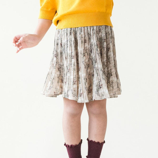 MELON Kids Pleated Chiffon Skirt, Parchment brown