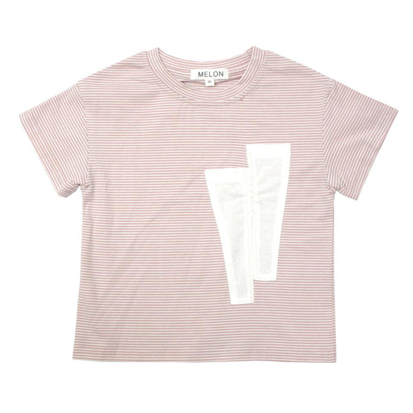 MELON Kids Boy and Girl Cotton Stripes Tee, Blush Pink
