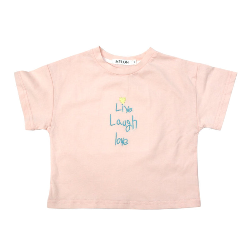 MELON Kids Girl Soft Cotton Tee with Embroidery, Blush Pink