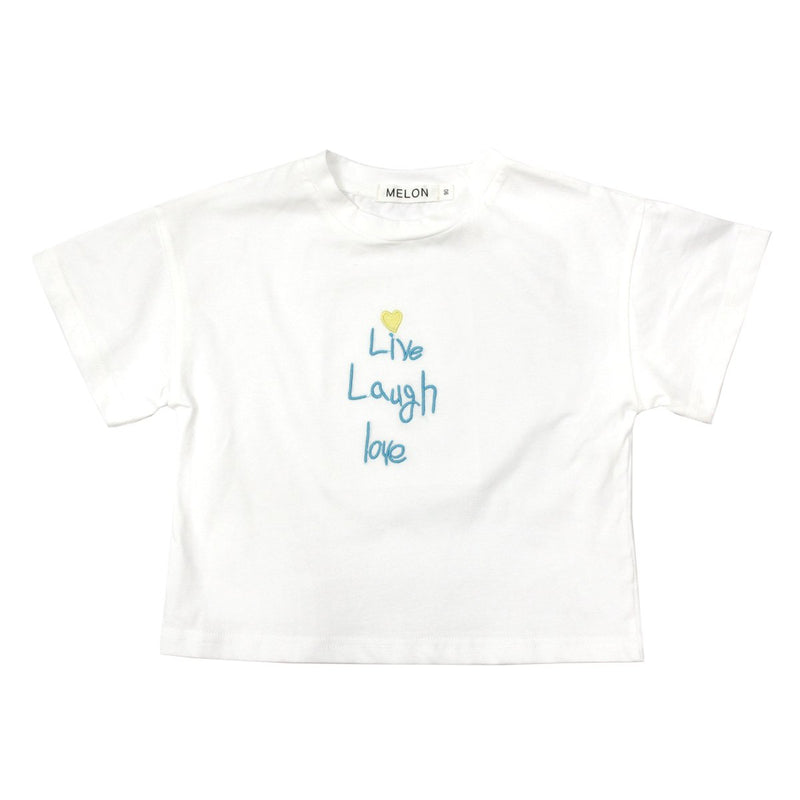 MELON Kids Girl Soft Cotton Tee with Embroidery, Daisy White