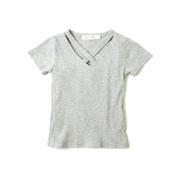 MELON Kids Girl Cross Top, Coin Grey