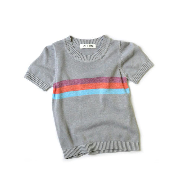 MELON Kids Cool Cotton Knit Top, Fossil Grey with Rainbow Stripes