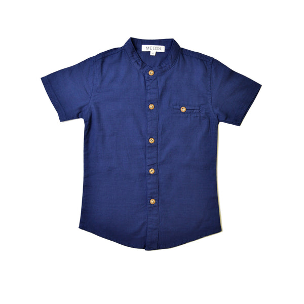 *Size 90 & 100 only* Grandad Shirt, Navy