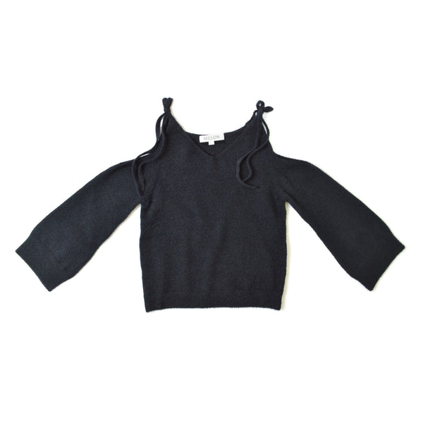 Cold Shoulder Knit Blouse, Ebony