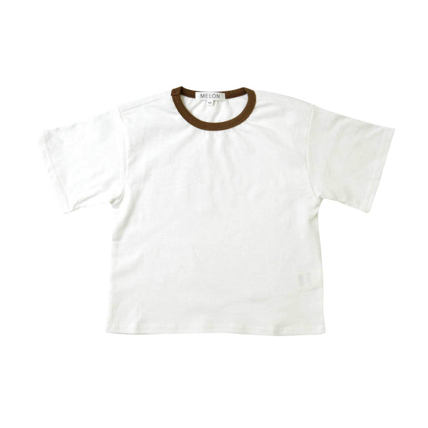 MELON Kids Boy Cotton Top, Daisy with Coffee Neckline