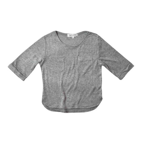 MELON Kids Boy Soft Cotton Knit Top, Coin grey