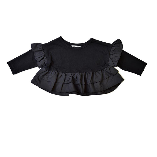 *Size 100 only* Cotton Ruffles Top, Ebony