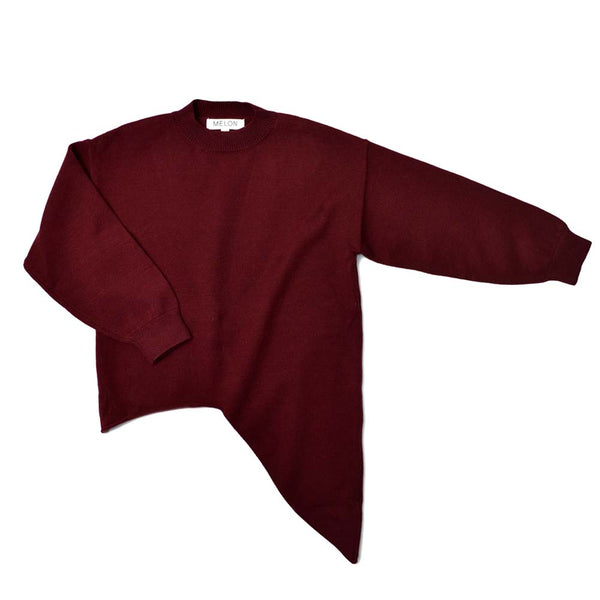 Cotton Knit Sweater, Wine