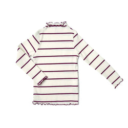 Jersey Cotton Top, Daisy with stripes in Wine
