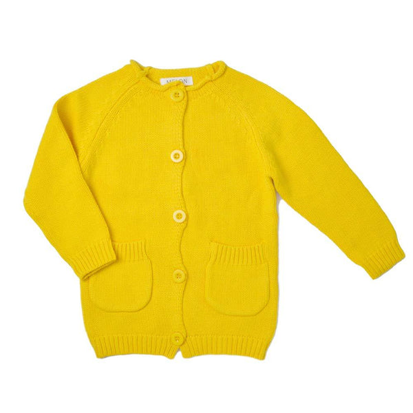 Cotton Knit Long Cardigan, Butter