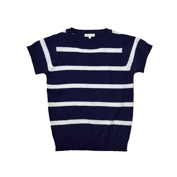 MELON Kids Boy/Girl Cool Cotton Knit Top, Navy Blue