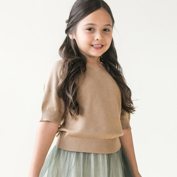 MELON Kids Girl Cotton Knit Top, Hazelnut brown
