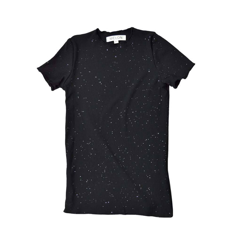 MELON Kids Girl Lightweight Cotton Top, Ebony Black with shimmer