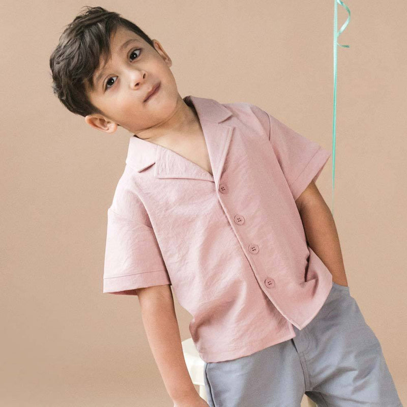 MELON Kids Boy Relaxed Shirt, Crepe Pink