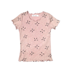 MELON Kids Girl Lightweight Cotton Top, Blush Pink with Print