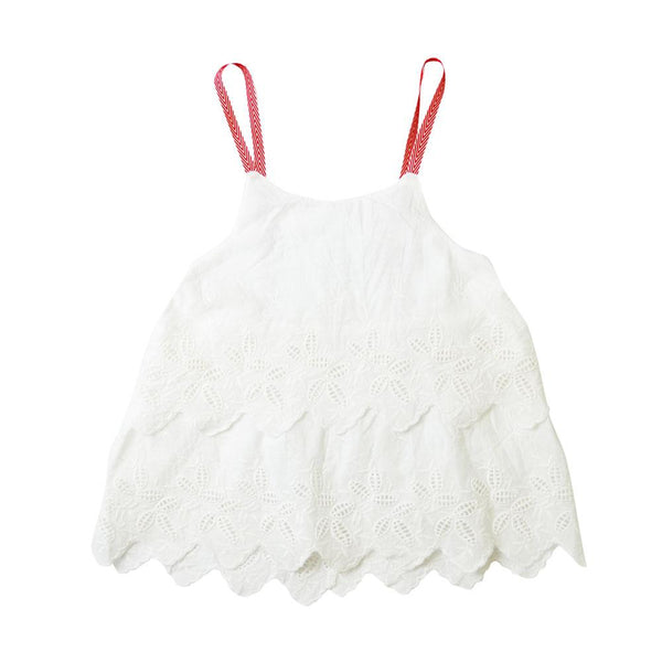 Layered Babydoll Top, Daisy with red straps