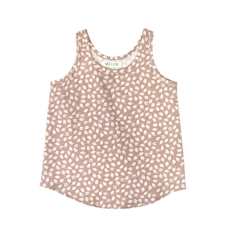 MELON Kids Girl Linen Top, Crepe Pink with prints