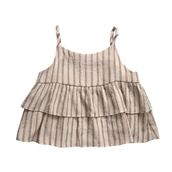 *Last Piece* Babydoll Top, Latte with Stripes