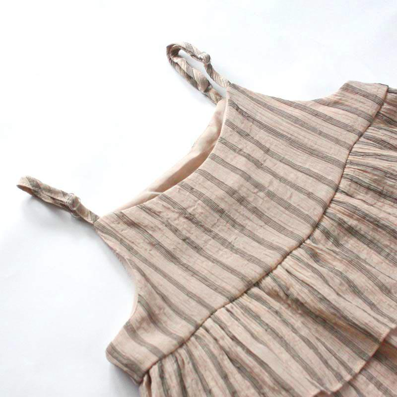 *Size 110 only* Babydoll Top, Latte with Stripes