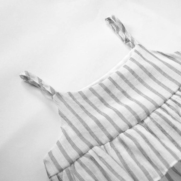 Babydoll Top, Pearl with Stripes