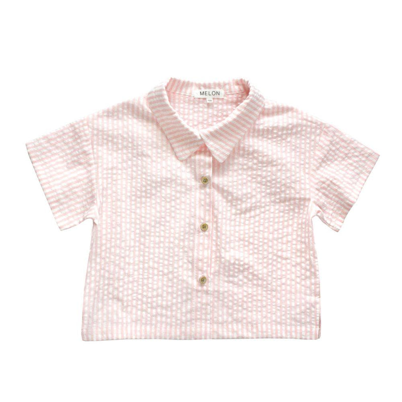 Melon Kids Boxy Relaxed Shirt, Blush with stripes