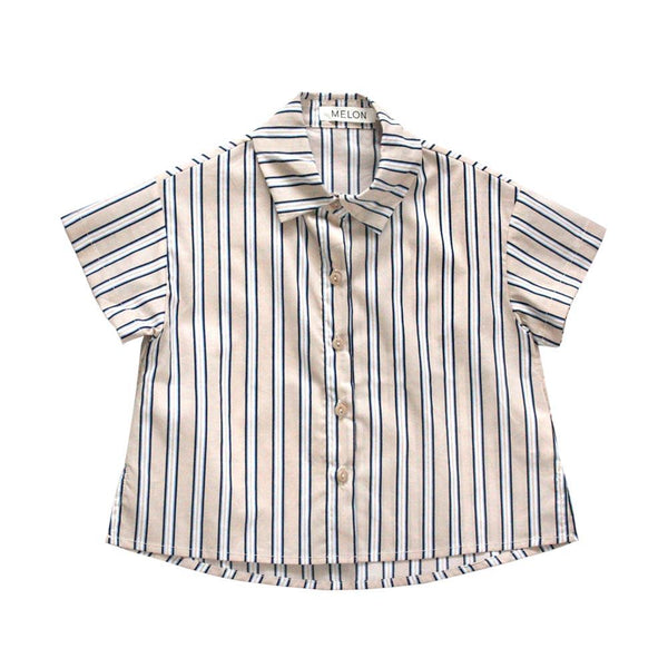 *Size 120 & 130 only* Boxy Relaxed Shirt, Oat with stripes