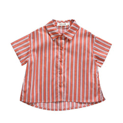 Boxy Relaxed Shirt, Apricot with stripes