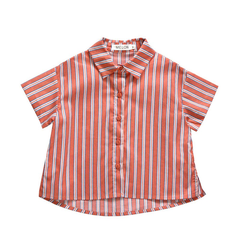 Melon Kids Boxy Relaxed Shirt, Apricot with stripes