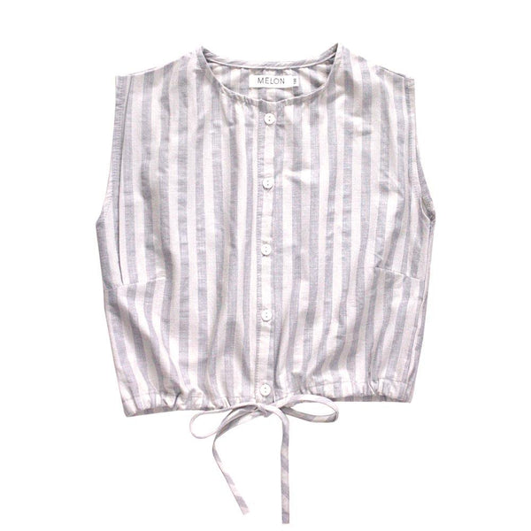 MELON Kids Girl Lightweight Blouse, Heather with Cloud Stripes
