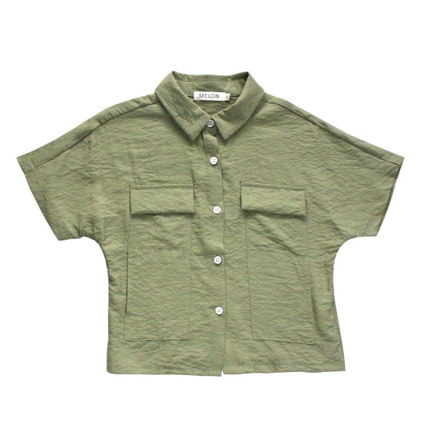 MELON Kids Boxy Relaxed Shirt, Olive Green