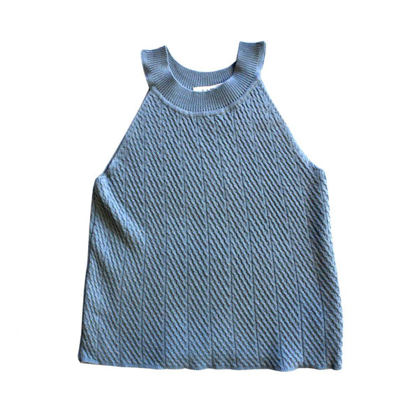 MELON Kids Girl Cable Knit Halter Top, Cerulean Blue