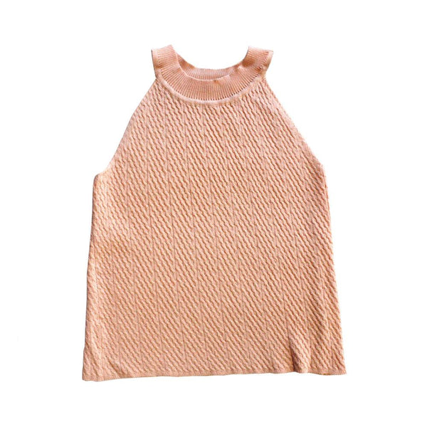 MELON Kids Girl Cable Knit Halter Top, Coral Orange