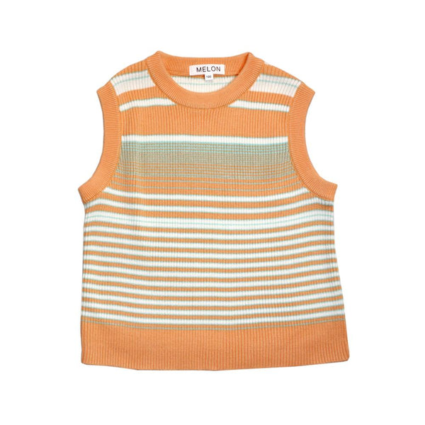 Cotton Knit Vest, Tangerine