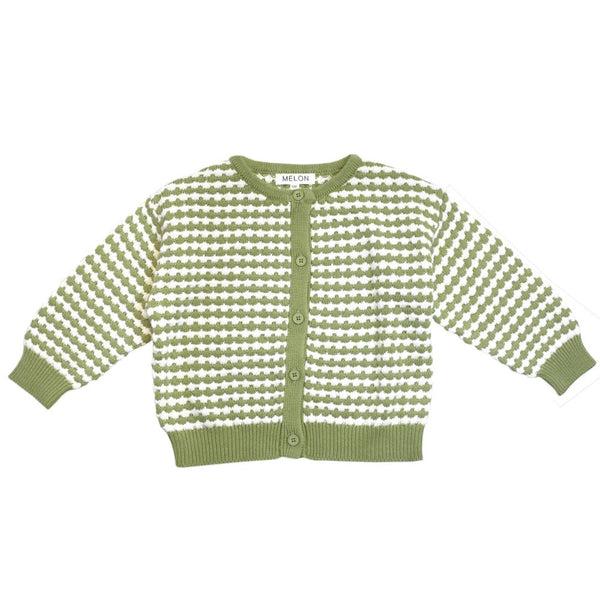 MELON Kids Girl Checks Knit Cardigan, Kiwi Green