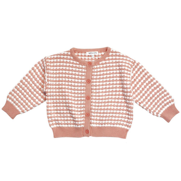 MELON Kids Girl Checks Knit Cardigan, Peach Orange