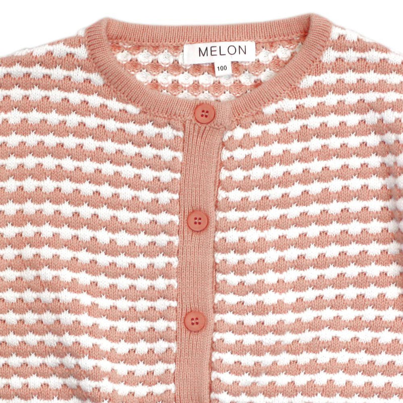 Checks Knit Cardigan, Peach