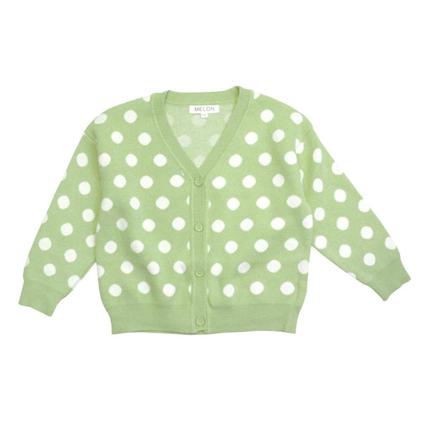 MELON Kids Girl Polka Dots Knit Cardigan, Avocado Green
