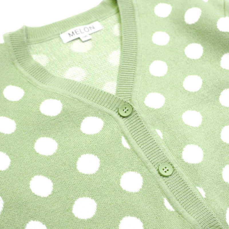 Polka Dots Knit Cardigan, Avocado