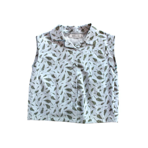Leafy Prints Cotton Top, Sky