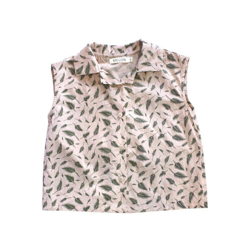 Leafy Prints Cotton Top, Blush