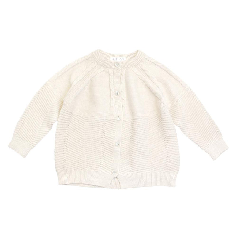 MELON Kids Girl Cable Knit Cardigan, Porcelain White