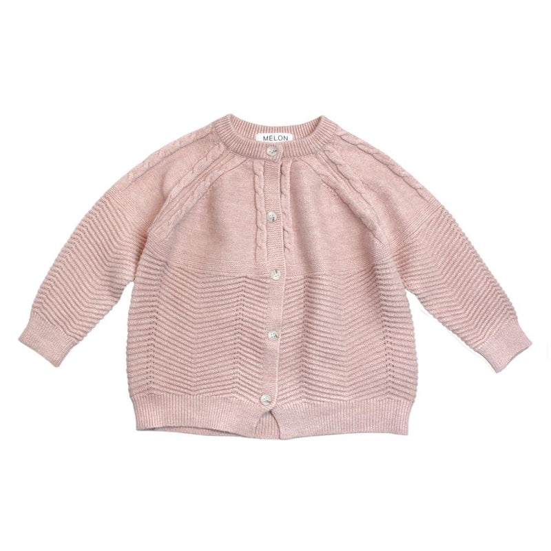 MELON Kids Cable Knit Cardigan, Blush Pink
