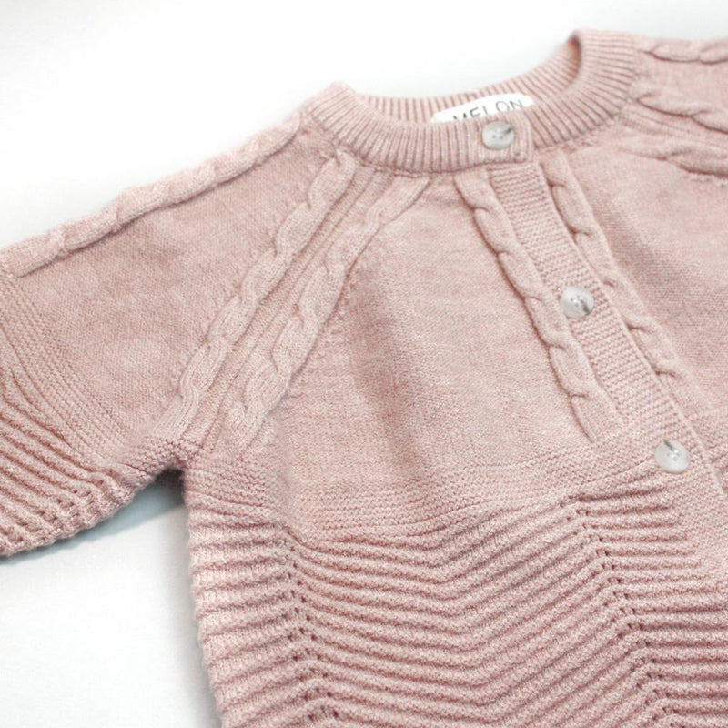 Cable Knit Cardigan, Blush